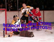 PRETZEL Mask! HOFer Bernie PARENT Boston Bruins vs MONTREAL Canadiens 8X10! NEW!