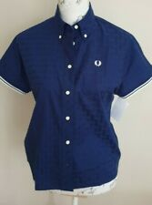 Fred Perry Womens Gingham Textured French Blue Tipped Shirt Size 8-10 Brand New