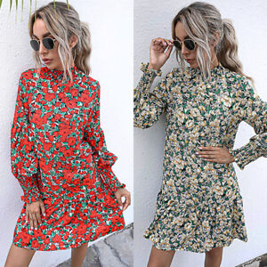Womens Summer Autumn Long Sleeve Swing Ladies Holiday Casual Floral Mini Dress