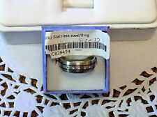 Mans Metallic Stainless Steel Cubic Zirconia Men's Ring Size 12