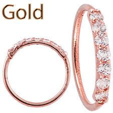 14k 22g Nose Hoops Rose Gold 7 Pieces Cubiz Zircona