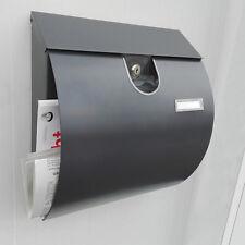 Briefkasten Edelstahl Postkasten Wandbriefkasten mit Zeitungsfach, Anthrazit M