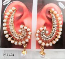 Indian Fashion Jewelry Gold Plated Ear Cuff Crystal Pearl CZ Stud Earrings Sets