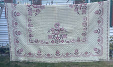 VTG Full Quilt Blanket HAND Cross STITCHED Shabby Cream Cottage Pink Flowers