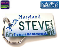 Personalized Maryland State License Plate Keychain Tag - Any Name - Vintage