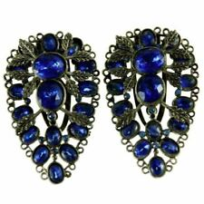 Vintage  Estate Jewelry Dress Clips  Large Blue Teardrop Stones 1930S