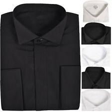 Mens Plain Shirt Formal Long Sleeve Regular Shirts Office Casual WeddingSuit Top