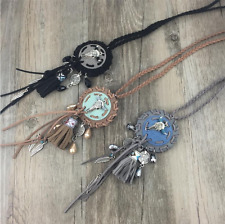 Ethnic Leather Cow Skull Tassel Native Feather American Indian Tribal Necklace