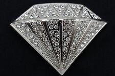 Men Street Fashion Belt Buckle Silver Metal Big Diamond Shape Iced Stone Hip Hop