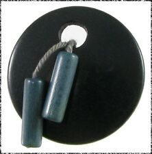 Vintage Art Deco Wood Button w/ Dangling Beads, Movable