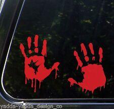 CAR - Zombie Hands - Bloody Handprints- Car Vinyl Decal Sticker (L,R PAIR)(RED)