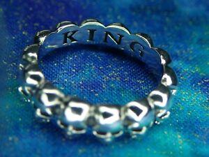 King Baby Studio Size 9 Sterling Silver 925 Iron Infinity Skulls Ring 6.3 Grams