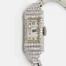 NYJEWEL Gruen Platinum Lady's Women Vintage Diamond Wind Up Bracelet Watch