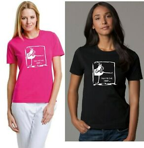 TALK TO THE HOOF LADIES SEMI-FITTED FUNNY HORSE T-SHIRT, PINK / BLACK 10 to 20
