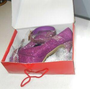 Krasceva Drag Queen Sexy Platforms Purple Glitter Ankle Strap Shoes Size 8 UK-41