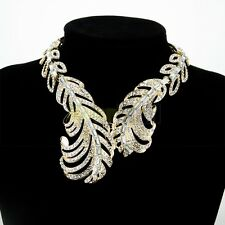 Luxury Gold Feather Charm Pendant Chain Crystal Choker Chunky Statement Necklace