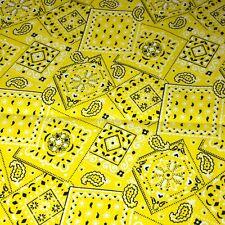 Yellow - Blazin' Bandana 100% cotton fabric by the yard 36x44 - yellow