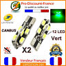 2 Ampoules LED T10 W5W 12 LED Vert Canbus Anti Erreur Ampoule Voiture Tuning