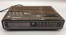 GE Digital Alarm Clock Radio AM/FM Model  7-4612A Brown Vintage 80's Tested