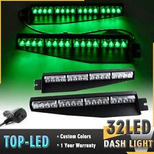 "34"" 32 LED Green Emergency Warning Traffic Visor Dash Flashing Strobe Light Bar"