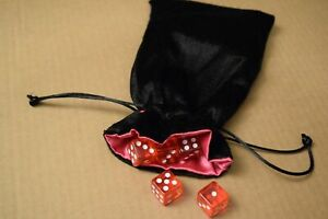 NEW Large Black Velvet RPG Game Dice Bag w/ Pink Satin Lining Counter Pouch Gift