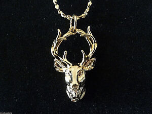 * ANTLERS Horns Touching 14 kt Gold Pendants + + FREE 18 kt Chain * USA Made !