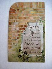 """Charming Victorian Trade Card for """"Chocolat Van Houten"""" w/ Boy Climbing Wall *"""