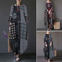 ZANZEA 8-24 Women Autumn Winter Long Maxi Kaftan Caftan Abaya Retro Floral Dress