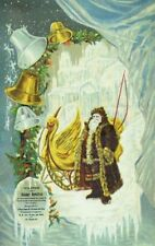 1880's Christmas Card Santa In Furry Coat Gold Swan Sleigh Ice Castle F59