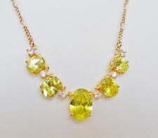 Green Gemstone & Crystal Diamanté Beautiful Necklace - New & Boxed