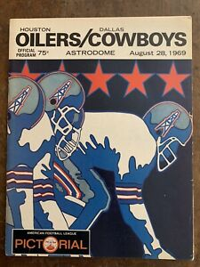 1969 HOUSTON OILERS vs DALLAS COWBOYS FOOTBALL PROGRAM  NEAR MINT!!!