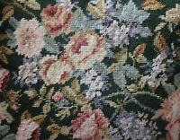 "16"" SQ Handmade Embroidered Wool Needlepoint Pillow Climbing Roses"