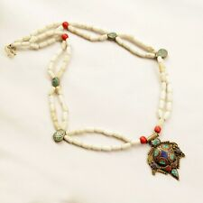 """Turquoise Coral lapis Glass Necklace 32"""" Tibetan Nepalese Handmade Nepal NB110"""