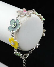 NEW PILGRIM SILVER PLATED BRACELET CRYSTALS ENAMEL FLOWERS LILIES COLLECTION