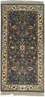"Wool Black Rug 2'x5' Persien Hand Knotted Kashmir Oriental 2'3""X4'7"" Carpet"