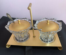 pair of vintage crystal glass & gold lid Jam / Sugar Bowls with stand.