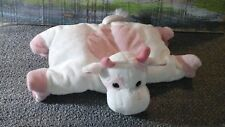 Russ Berrie Pink White COW Plush Stuffed Animal pillow lovey velcro toy soft