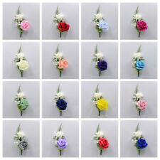 Artificial Wedding Flowers Double Foam Rose Buttonhole 23 Colours, Wedding Groom