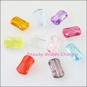 45Pcs Mixed Plastic Acrylic Faceted Rectangle Spacer Beads Charms 9x14.5mm