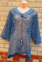 NEW FLORENCE COLLECTION BLUE FISH NET LACE KNIT OVERSIZED TOP BLOUSE SHIRT M L