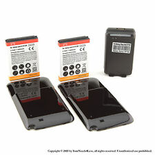 2 x 6500mAh Extended Battery for Black Samsung Galaxy Note II GT-N7100 Charger
