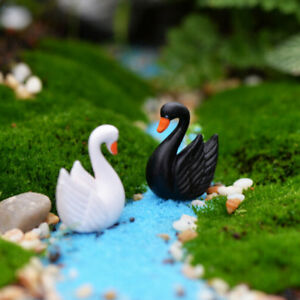 2pcs Swan Miniature Figurine Fairy Garden Dollhouse Decor Craft Mini Landsca OH