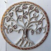 Pannello albero della vita legno mdf traforato a mano diametro cm 40 bianco arge