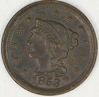 1853 Braided hair Large Cent. Choice Uncirculated Brown RAW3995/BSN