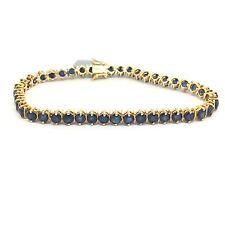 14k Yellow Gold Natural Sapphire Tennis Bracelet. September Birthstone.