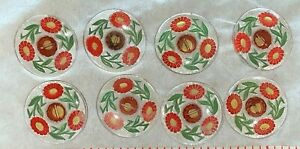 8 Czech Glass Clear Buttons with Red Flowers and Green Leaves, 1.1 Inch in Diam