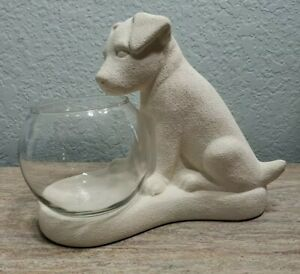 Vintage Haeger White Textured Puppy Dog Sitting Watching Fish Bowl Aquarium