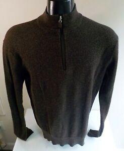 PETER MILLAR 1/4 Zip Pullover Sweater-Brown-Wool Blend-SZ LARGE