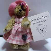 "Deb Canham Teddy Bear Plush HATTIE 3"" Rainy Day Collection Mohair"