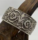 Amazing VNT Massive Sterling Austrian Floral Filigree Hinged Bangle Bracelet 60g